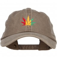 Rasta Leaf Embroidered Unstructured Cap - Khaki