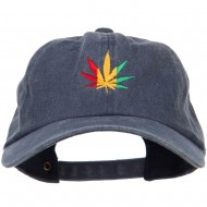 Rasta Leaf Embroidered Unstructured Cap - Navy