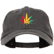 Rasta Leaf Embroidered Unstructured Cap - Black