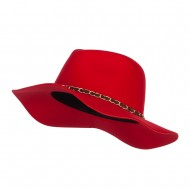 Faux Felt Chain Band Panama Hat - Red
