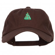Christmas Tree Embroidered Unstructured Cap - Brown