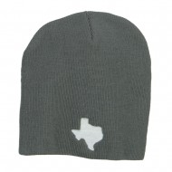 Texas Map Embroidered Big Short Beanie - Grey
