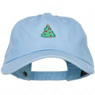 Christmas Tree Embroidered Unstructured Cap - Blue
