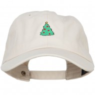 Christmas Tree Embroidered Unstructured Cap - Beige