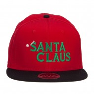 Santa Claus Embroidered Snapback Cap - Black Red