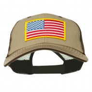 Yellow American Flag Big Size Cotton Twill Mesh Patched Cap - Brown Beige