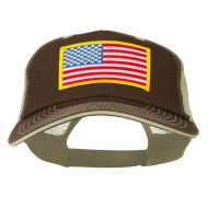 Yellow American Flag Big Size Cotton Twill Mesh Patched Cap - Khaki Brown