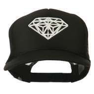 Youth Big Diamond Outline Embroidered Mesh Cap - Black