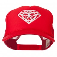 Youth Big Diamond Outline Embroidered Mesh Cap - Red