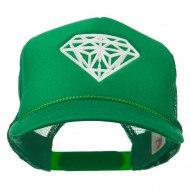 Youth Big Diamond Outline Embroidered Mesh Cap - Kelly