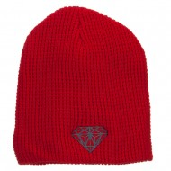Grey Diamond Embroidered Waffle Short Beanie - Red