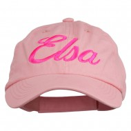 Youth Elsa Embroidered Washed Chino Twill Cap - Pink