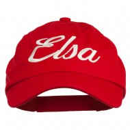 Youth Elsa Embroidered Washed Chino Twill Cap - Red