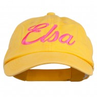 Youth Elsa Embroidered Washed Chino Twill Cap - Yellow