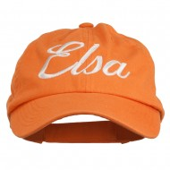Youth Elsa Embroidered Washed Chino Twill Cap - Orange
