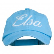 Youth Elsa Embroidered Washed Chino Twill Cap - Blue