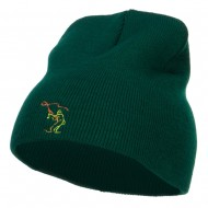 Fly Fishing Man Embroidered Short Beanie - Dk Green