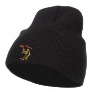 Fly Fishing Man Embroidered Short Beanie - Black