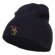 Fly Fishing Man Embroidered Short Beanie - Navy