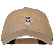 US Air Force Logo Embroidered Solid Cotton Pro Style Cap - Khaki