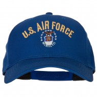 US Air Force Logo Embroidered Solid Cotton Pro Style Cap - Royal