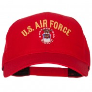 US Air Force Logo Embroidered Solid Cotton Pro Style Cap - Red