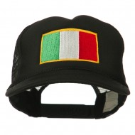 Youth Italy Flag Embroidered Foam Mesh Back Cap - Black