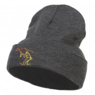 Fly Fishing Man Embroidered Long Beanie - Dk Grey