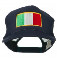 Youth Italy Flag Embroidered Foam Mesh Back Cap - Navy