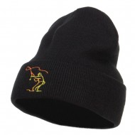 Fly Fishing Man Embroidered Long Beanie - Black