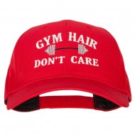 Gym Hair Don't Care Embroidered Solid Cotton Pro Cap - Red
