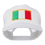 Youth Italy Flag Embroidered Foam Mesh Back Cap - White