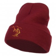 Fly Fishing Man Embroidered Long Beanie - Maroon
