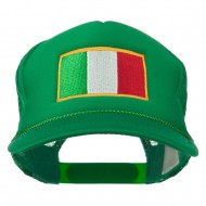Youth Italy Flag Embroidered Foam Mesh Back Cap - Kelly
