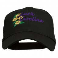 USA State South Carolina Flowers Embroidered Cotton Cap - Black
