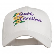 USA State South Carolina Flowers Embroidered Cotton Cap - White