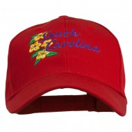 USA State South Carolina Flowers Embroidered Cotton Cap - Red