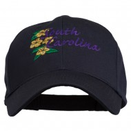 USA State South Carolina Flowers Embroidered Cotton Cap - Navy