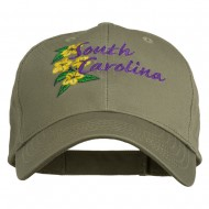 USA State South Carolina Flowers Embroidered Cotton Cap - Olive