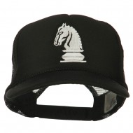 Youth Knight Chess Embroidered Mesh Cap - Black