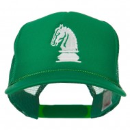 Youth Knight Chess Embroidered Mesh Cap - Kelly
