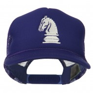 Youth Knight Chess Embroidered Mesh Cap - Purple