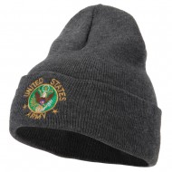US Army Circle Symbol Embroidered Long Beanie - Dk Grey