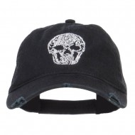 Day of the Dead Skull Embroidered Frayed Cap - Black