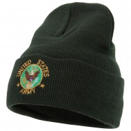 US Army Circle Symbol Embroidered Long Beanie - Olive