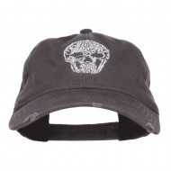 Day of the Dead Skull Embroidered Frayed Cap - Charcoal