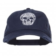 Day of the Dead Skull Embroidered Frayed Cap - Navy