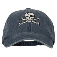 Jolly Roger Skull Embroidered Big Size Washed Cap - Navy