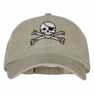 Jolly Roger Skull Embroidered Big Size Washed Cap - Stone