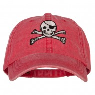 Jolly Roger Skull Embroidered Big Size Washed Cap - Red